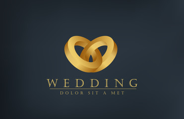 Wedding rings logo design template. Creative invitation card