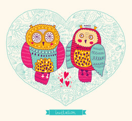 Fototapete - Vector wedding invitation with cute owls