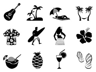 tropical island and beach vacation icons set .