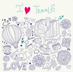 Summer illustration with symbols of travel