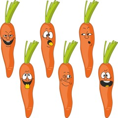 Emotion cartoon carrot vegetables set 017
