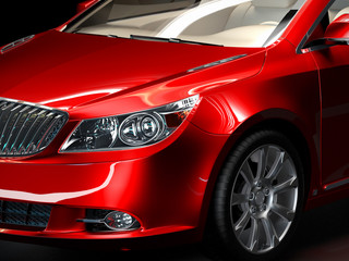 luxury sedan car close-up, studio style 3d illustration