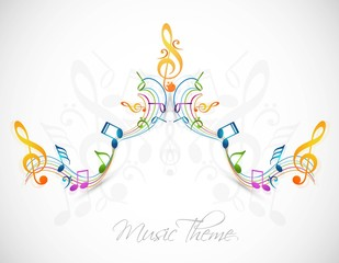 Colorful music notes fantastic vector