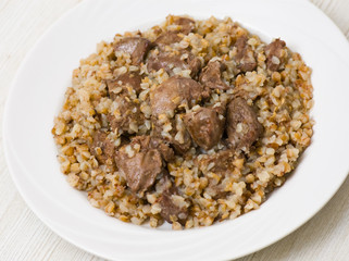 Buckwheat porridge with chicken liver