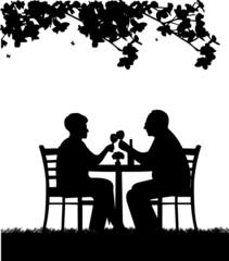 Lovely retired elderly couple drinking glass of wine in garden