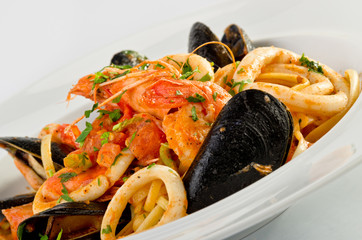 Canvas Prints Seafoods Linguine seafood