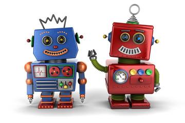 Toy robot buddies over white background
