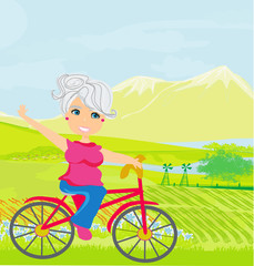 Elderly woman on a bicycle