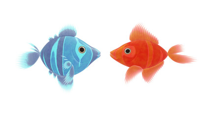 red and blue fish