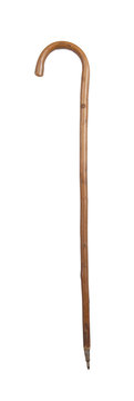 Old walking stick isolated on white
