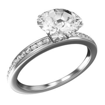 Platinum Wedding Ring with Diamonds isolated on white background