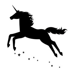 Silhouette of a beautiful  magical unicorn.