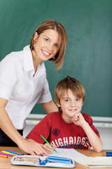 Teacher and elementary school student