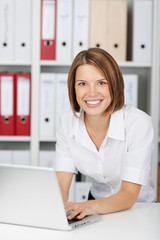 Smiling woman working on a laptop