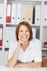 Portrait of a smiling woman in the office