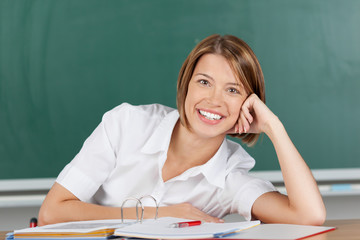 Smiling brunette teacher