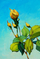 branch of yellow rose, painting by oil on canvas, illustration