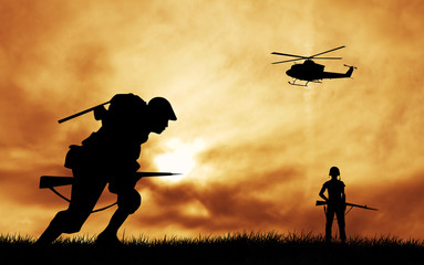 Foto op Canvas Militair soldiers at war