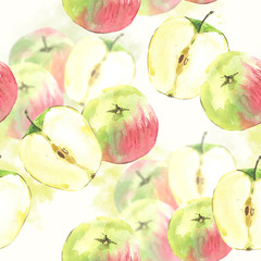 SeamSeamless background with watercolor apples