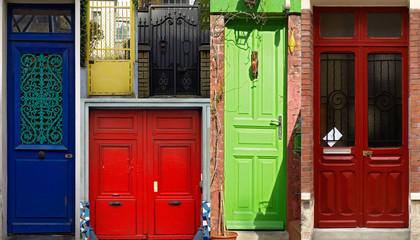 Portes dans le quartier de la Mouzaïa - Paris (19ème)