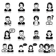 Set of people icons Black & White