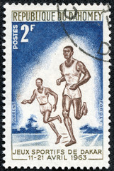 stamp printed by Dahomey, shows runner