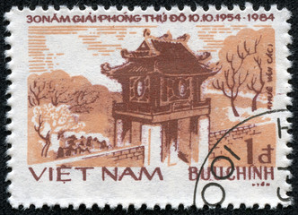 stamp printed by Vietnam shows Temple of Literature in Hanoi