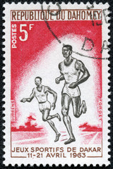 stamp printed in Republic of Dahomey show two black runners