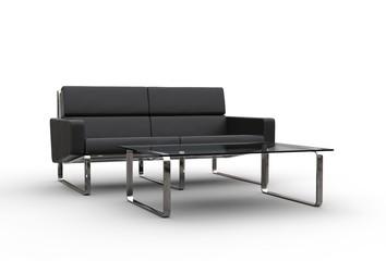 Sofa And Glass Table