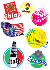 World travel sticker icon set
