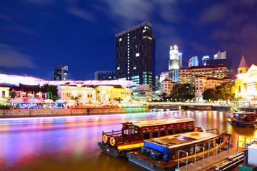 Foto op Canvas Singapore Singapore city skyline at night