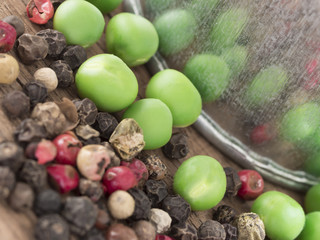 raw, green peas