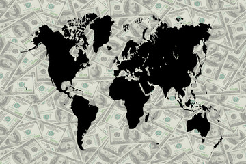 The money and world map.