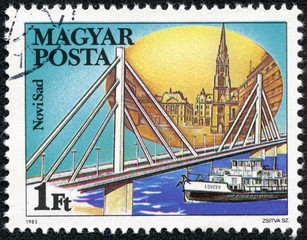 stamp printed by Hungary, shows Novi Sad Bridge in Yugoslavia
