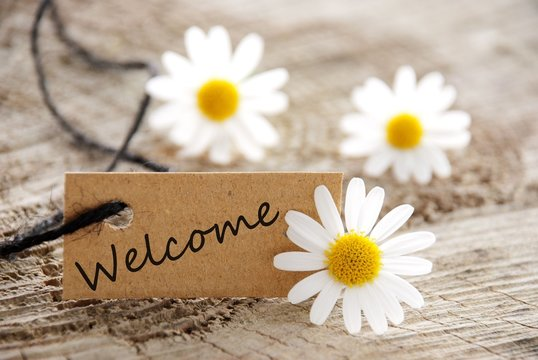 natural looking label with welcome