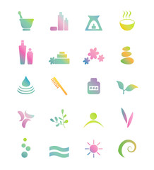 Wellness, spa, beauty and  nature vector icons sets.