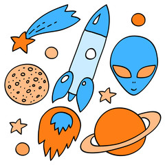 Blue and orange space elements collection on white, vector
