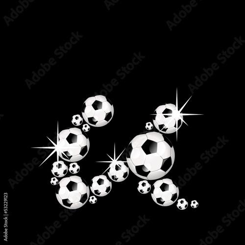 Soccer Balls Letter 3d Alphabet Fussball U Stock Image