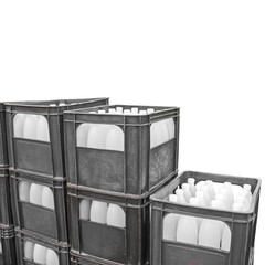 black plastic containers and bottles  Isolated on a white