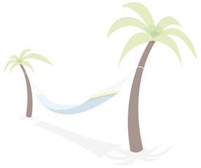 Resting hammock between palm trees