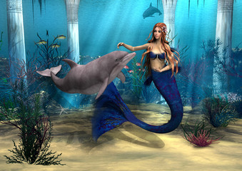 Photo sur Plexiglas Mermaid Mermaid and Dolphin