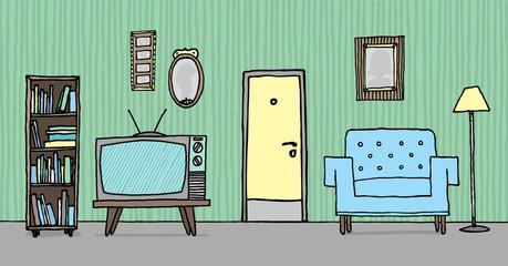 Cool vintage living room / Retro background