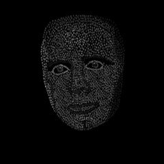 vector illustration of face from numbers on black background