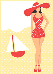girl in red swimsuit, retro style