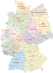 Wall Mural - Deutschland, Bundesländer, Landkreise, kreisfreie Städte