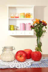 Kitchen composition on table on shelf background