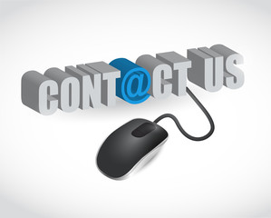 contact us sign and mouse illustration design