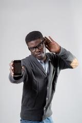 African-American man using smartphone