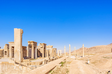 Apadana palace of Persepolis in Shiraz, Iran.