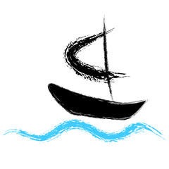Pirates boat sailing on the waves. Vector logo